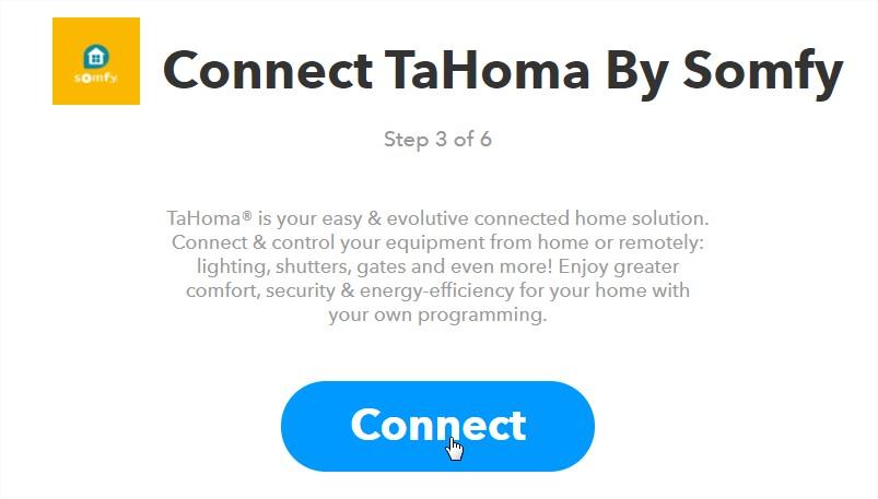 IFTTT-tahoma-somfy-configuration