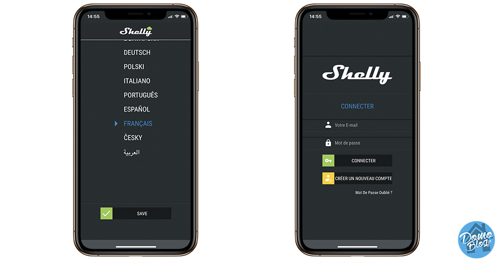 shelly application connexion