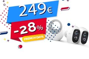 #FRENCHDAYS : Le Lot de 2 Caméras Sans Fil + Détecteur de Mouvement Compatibles Assistants Vocaux en #PROMO pour seulement 249€ (-28%)