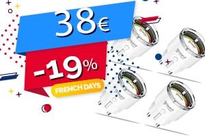 #FRENCHDAYS : Le Lot de 4 Prises Connectées Compatibles Assistants Vocaux et Domotique en #PROMO pour seulement 38€ (-19%)