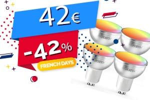 #FRENCHDAYS : Le Lot de 4 Spots Wifi Connectés Compatibles Assistants Vocaux, Domotique en #PROMO pour seulement 42€ (-42%)