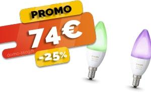 Le Pack de 2 Ampoules connectées Philips Hue compatibles Domotique et Assistants vocaux en #PROMO pour seulement 74€ (-25%)
