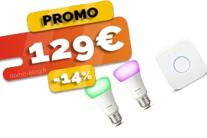 Le Pack de 2 Ampoules et Kit de démarrage Philips Hue Compatibles Domotique et Assistants Vocaux en #PROMO pour seulement 129€ (-14%)