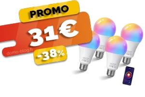 Le Pack de 4 Ampoules Connectées Wifi Compatibles Domotique et Assistants Vocaux en #PROMO pour seulement 31€ (-38%)
