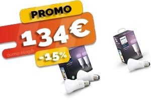 Le Pack de 3 Ampoules Philips Hue Compatibles Domotique et Assistants Vocaux en #PROMO pour seulement 134€ (-15%)