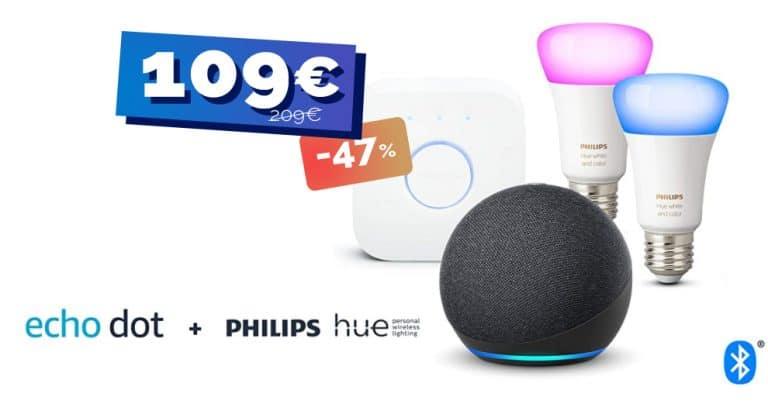 Le kit de démarrage Philips Hue + un Amazon Echo Dot 4 actuellement moitié prix pour bien démarrer la domotique 🔥