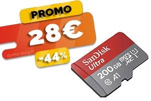 La carte Micro SD Sandisk 200Go en #PROMO pour seulement 28€ (-44%)