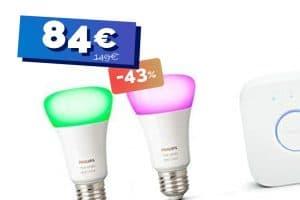 Le kit de démarrage Philips Hue 2 ampoules White and Color + Pont actuellement en grosse baisse de prix (-43%) 🔥