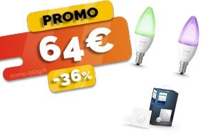 Le Kit de 2 Ampoules + le Bouton Connecté Intelligent Philips Hue en #PROMO pour seulement 64€ (-36%)