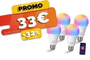 Le lot de 4 Ampoules Connectées Compatibles Domotique et Assistants Vocaux en #PROMO pour seulement 33€ (-32%)