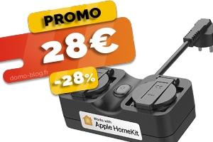 La double prise connectée d'exterieur compatible Homekit, IFTTT et Assistants Vocaux en #PROMO pour seulement 28€ (-28%)