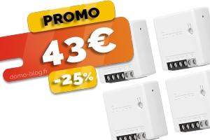 Le lot de 4 micromodules relais Zigbee encastrables en #PROMO pour seulement 43€ (-25%)