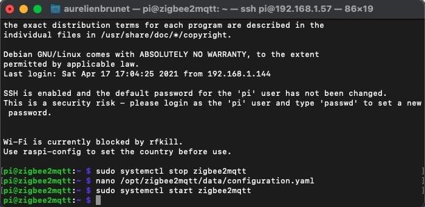 zigbee2mqtt-start-demarrage-commande