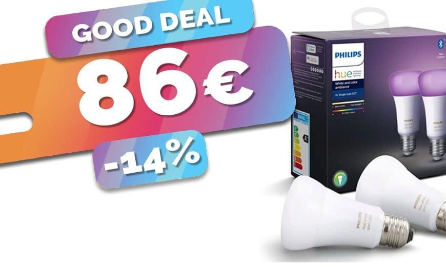 Le lot de 2 ampoules E27 Philips Hue White and color en baisse à seulement 86€ (-14%)🔥