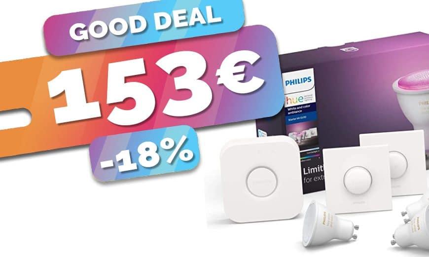 Le starter Kit Philips Hue Pont + 3 spots GU10 color + 2 boutons en baisse à 153€ (18%)🔥