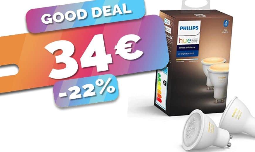 Le lot de 2 spots GU10 Philips Hue White en baisse à seulement 34€ (-22%)🔥
