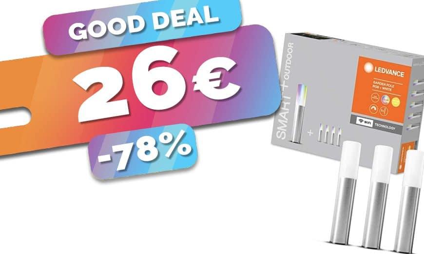 Le kit 5 lampes de jardin connectées et multicolores Ledvance est en SOLDES au prix fou de 26€ (-78%)🔥