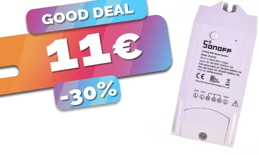 Le module double charge Sonoff DualR2 Wifi actuellement en promotion à 11€ (-30%) 🔥