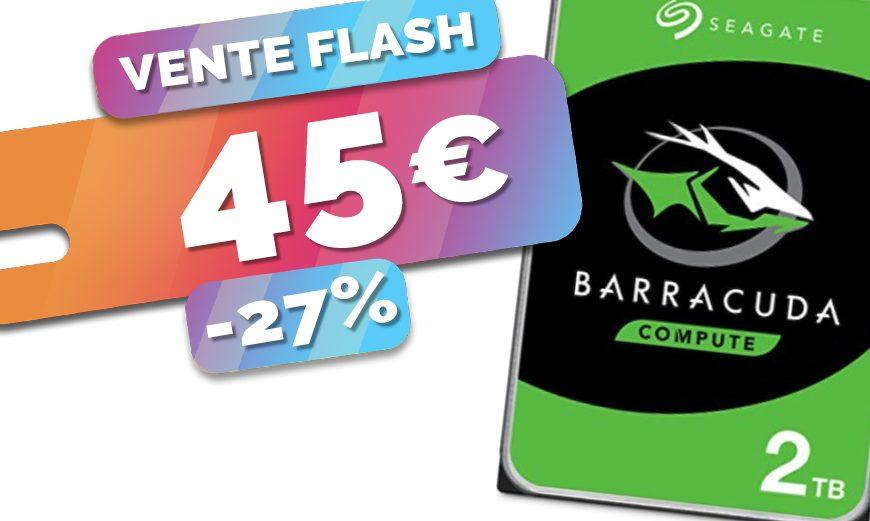 Le disque dur Seagate Barracuda 2To parfait pour NAS bradé au prix de 45€ seulement (-27%)🔥