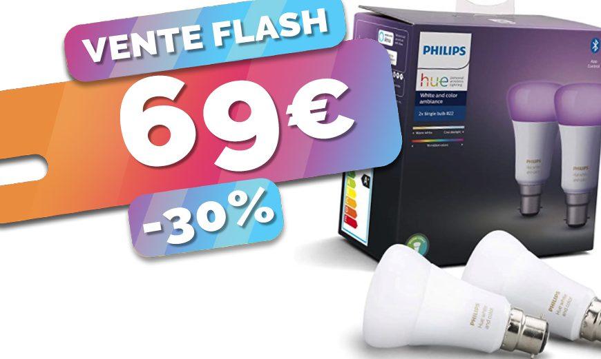 2x ampoules Philips Hue White & Color pour le prix d'une avec ce lot à 69€ seulement