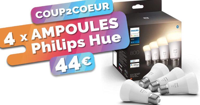 Seulement 11€ l'ampoules Philips Hue E27 avec ce lot à 44€ les 4